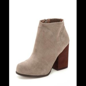 Jeffrey Campbell Hanger Suede Taupe Stacked Bootie